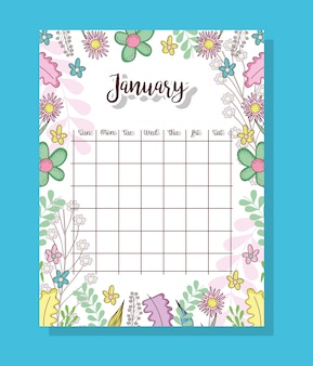 January calendar with flowers plants and leaves