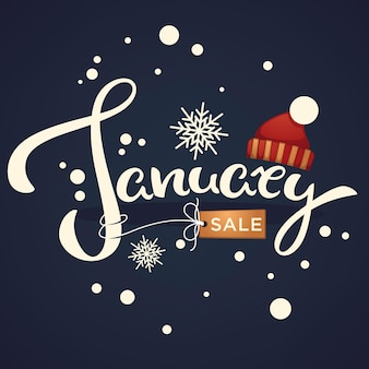 January sale knitted hat  and snowflakes lettering composition flyer