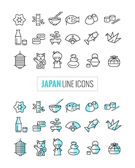 Japan 2 style icons set, flat thin line and mono icons style