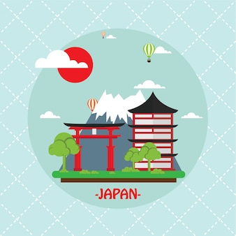 日本の背景フラットスタイル