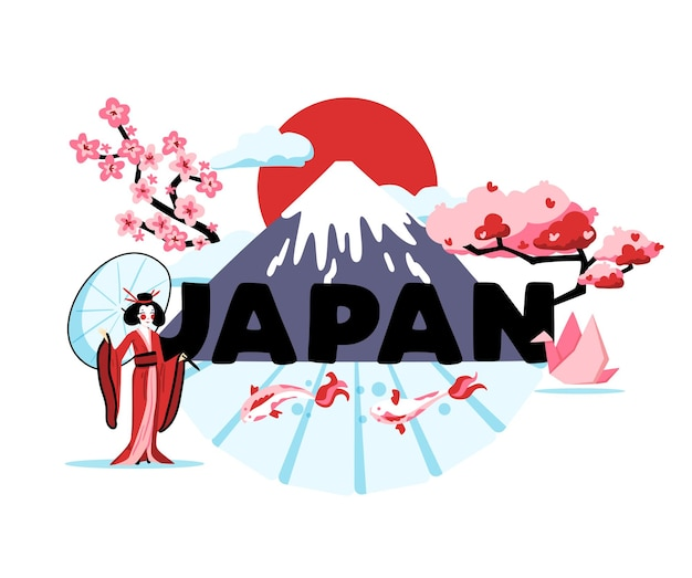 Japan cartoon composition of traditions of rising sun country illustration