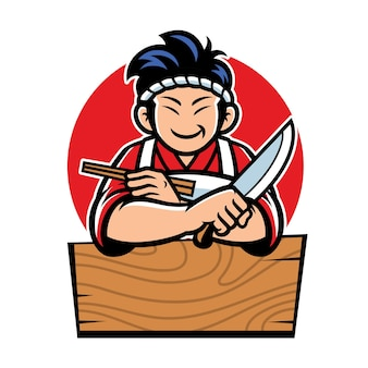 만화 스타일의 일본 요리사