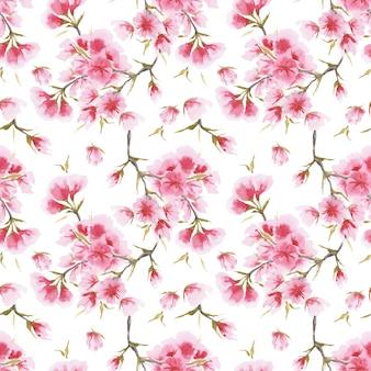 Japan cherry sakura seamless pattern
