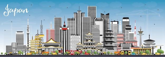 灰色の建物と青い空のある日本都市のスカイライン。図。歴史的建造物と観光の概念。ランドマークのある街並み。東京。大阪。名古屋。京都