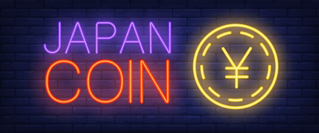 Japan coin neon text with gold coin