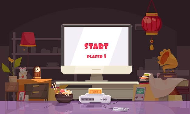 麺付きの家のインテリアリビングルームとプレイスクリーン付きのゲーム機を備えた日本の作曲