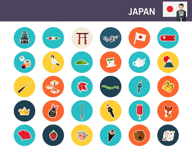 Japan concept flat icons