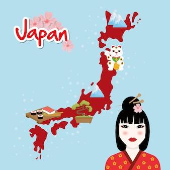 Концепция японии с дизайном значков