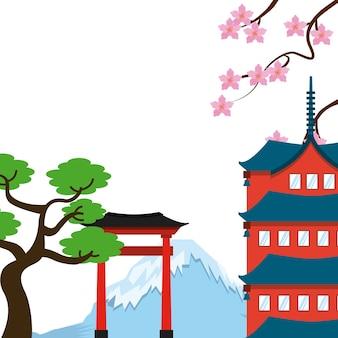 Дизайн японской страны, векторные иллюстрации eps10 graphic