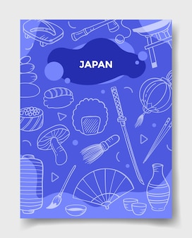 Japan country nation with doodle style for template of banners, flyer, books, and magazine cover vector illustration