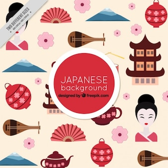 Япония элементы культуры в плоском фоне дизайна