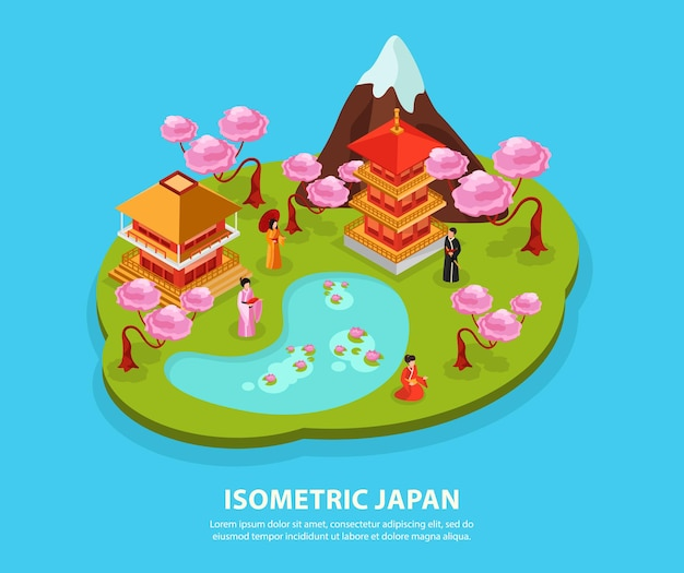 Composizione isometrica delle attrazioni turistiche dei punti di riferimento della cultura del giappone con il kimono delle carpe del tempio della montagna di fuji del fiore di ciliegia