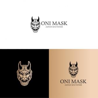 Япония культура они маска логотип штриховой рисунок редактируемый шаблон
