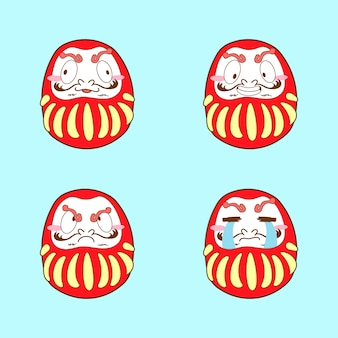 Japan cute dakuma emoji vector set