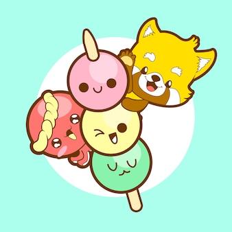 日本のかわいいかわいいダンゴレッサーパンダとタコ