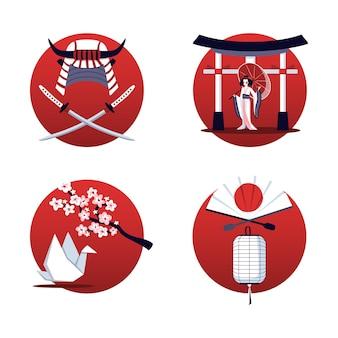 고립 된 그림의 일본 디자인 컨셉 세트
