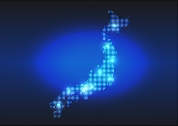 Карта с точками японии в цифровом стиле