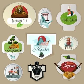 Japan emblems set