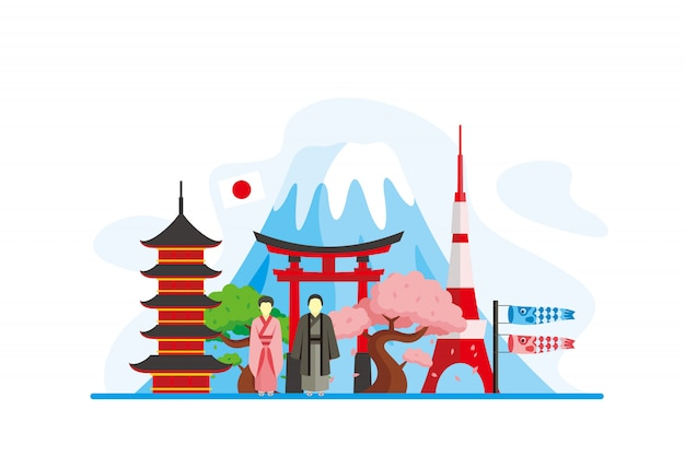 Japan famous landmarks background