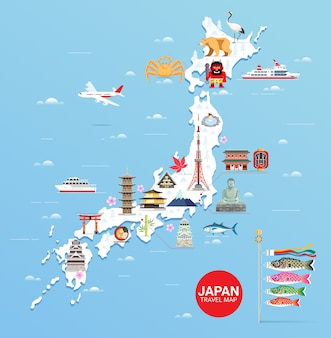 Japan famous landmarks travel map with tokyo tower