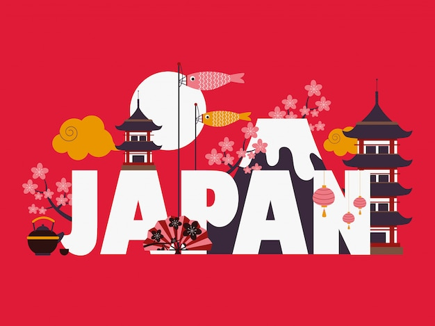 Japan famous symbols and landmarks