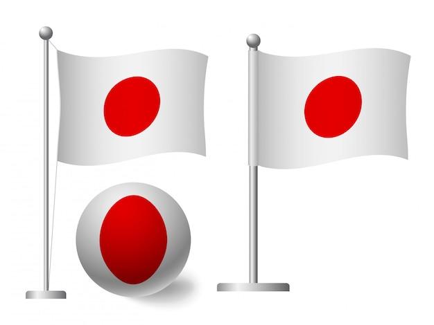 Флаг японии на значок полюса и мяча