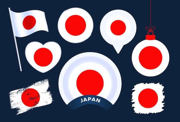 Векторная коллекция флаг японии. большой набор элементов дизайна национального флага в различных формах для государственных и национальных праздников в плоском стиле.