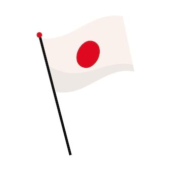 Флаг японии развевается в полюсе