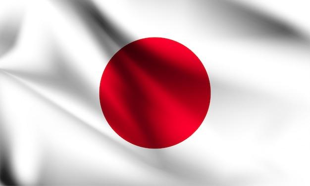 日本の旗、風、3 dイラストレーションと手を振って