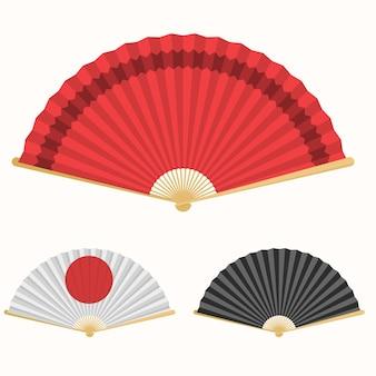 일본 부채. 일본 문화의 상징. 손 종이 팬 세트.
