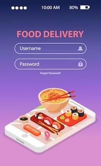 모바일 화면에 초밥과 국수 스프가있는 일본 음식 배달 온라인 서비스 아이소 메트릭 구성
