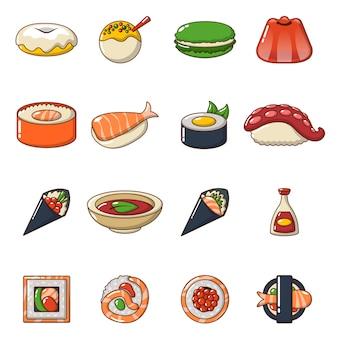 Japan food icons set