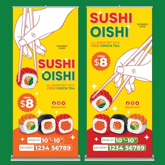 Japan food restaurant roll up banner print template in flat design style