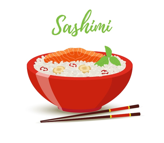 Japan food - sashimi in red bowl. salmon