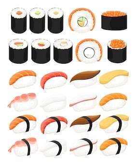 日本の食べ物セット、白い背景の上の寿司の種類。握り寿司。