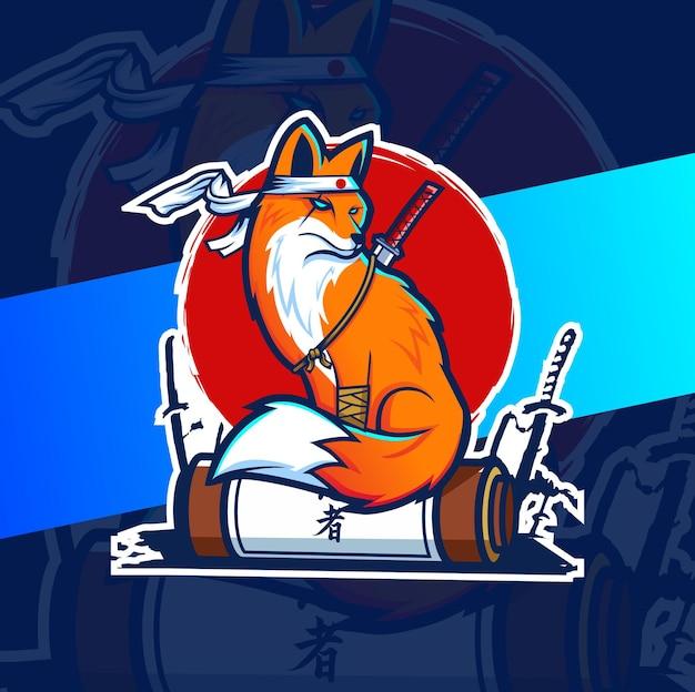 Eスポーツとゲームのロゴの日本キツネのマスコットデザイン