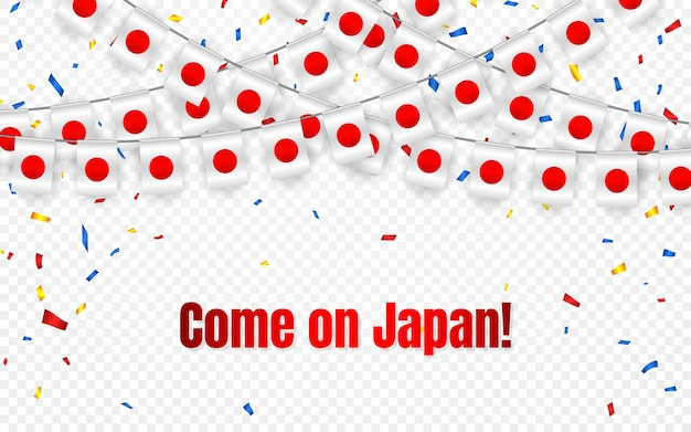 Japan garland flag with confetti on transparent background, hang bunting for celebration template banner,