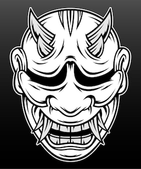 Japan hannya mask hand drawn illustration design