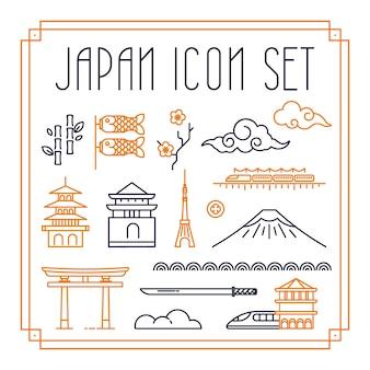 日本のアイコンと細い線スタイルのシンボル