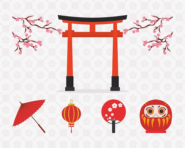 Japan icon set on pattern background