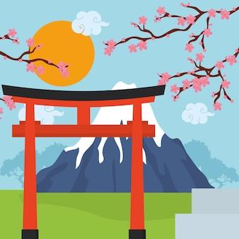 Иллюстрация японии с горой фудзи и воротами тории