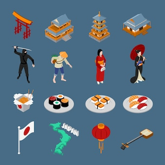 Japan isometric touristic set