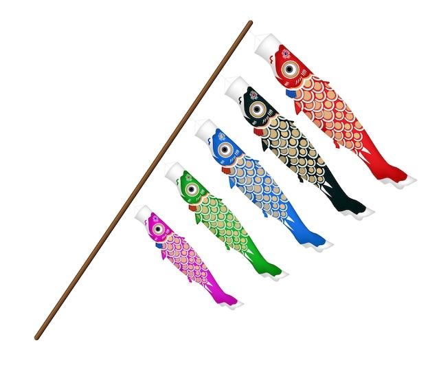 白い背景に日本の鯉魚凧