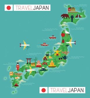 日本のランドマークと旅行地図。フラットなデザイン要素