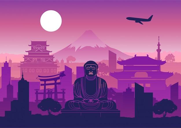 Japan landmark silhouette design