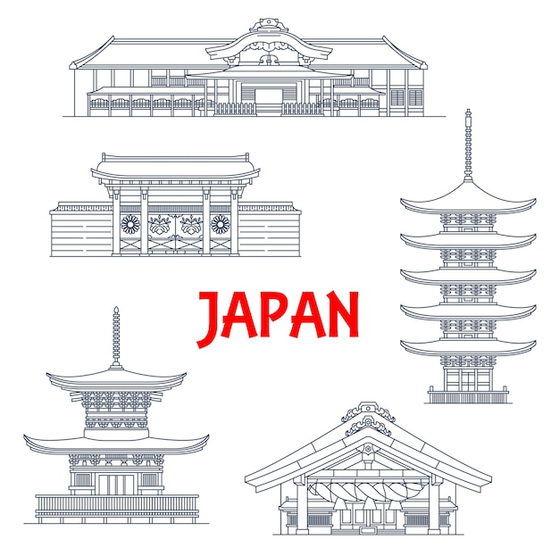 Japan landmark temples, japanese pagoda icons, travel buildings in kyoto.