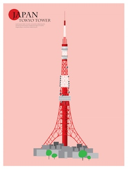 Japan landmark, tokyo tower vector illustration