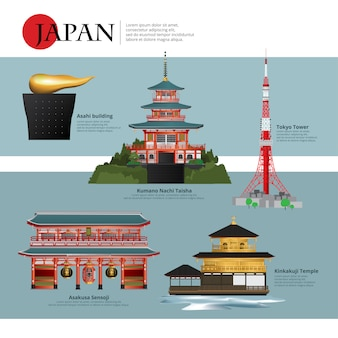 Japan landmark and travel attractions vector illustration