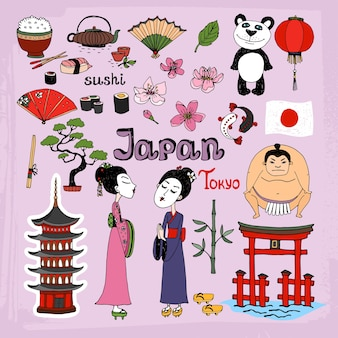 Japan landmarks and cultural icons set
