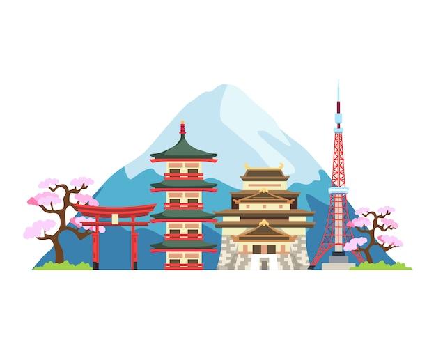 Япония достопримечательности иллюстрация